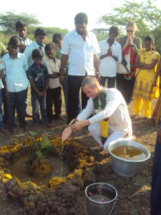Yogesh makes Puja for the land