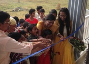 Ribon cutting during house puja